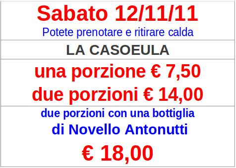 Casoeula e vino Novello Antonutti – Sabato 12 novembre 2011